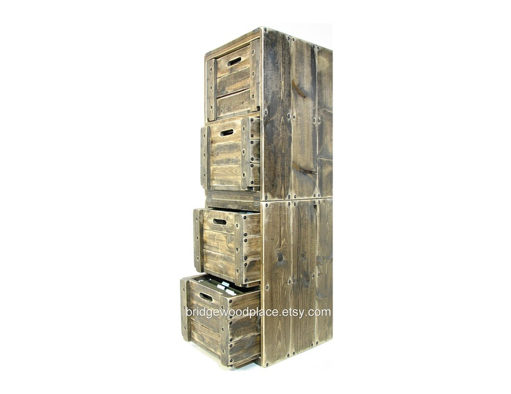Filing Cabinet 4 Drawer Solid Wood Office File Cabinet Wooden Crate F