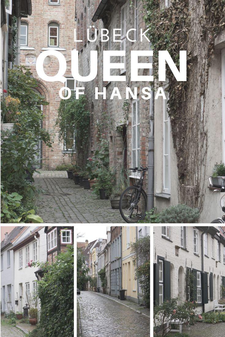 Gatelangs i Lübeck, dronningen av Hansabyene. Byen med de syv tårn.