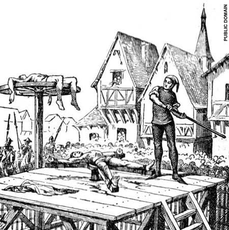 The Breaking Wheel- The victim's limbs were tied to the spokes and the wheel itself was slowly revolved. Through the openings between the spokes, the torturer usually hit the victim with an iron hammer that could easily break the victim's bones. Once his bones were broken, he was left on the wheel to die, sometimes placed on a tall pole so the birds could feed from the still-living human many executioners used the coups de grâce, which caused lethal injuries, to make the victim's death…