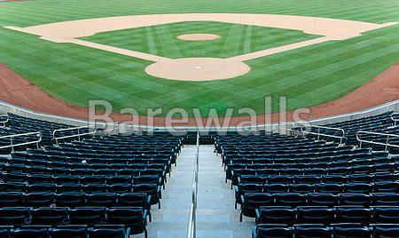 """Baseball stadium with seating and a baseball diamond with green grass"" - Baseball posters and prints available at Barewalls.com"