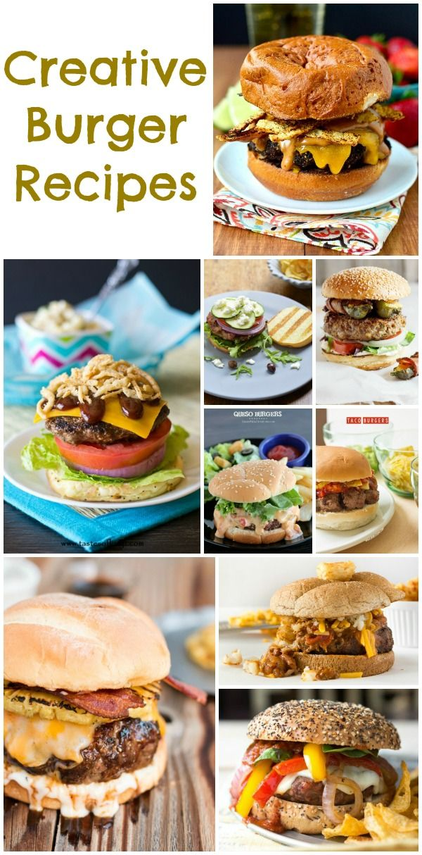 Creative  Unique Burger #Recipes #Burger #CampingParty http://www.momsandmunchkins.ca/2014/06/29/burger-recipes/