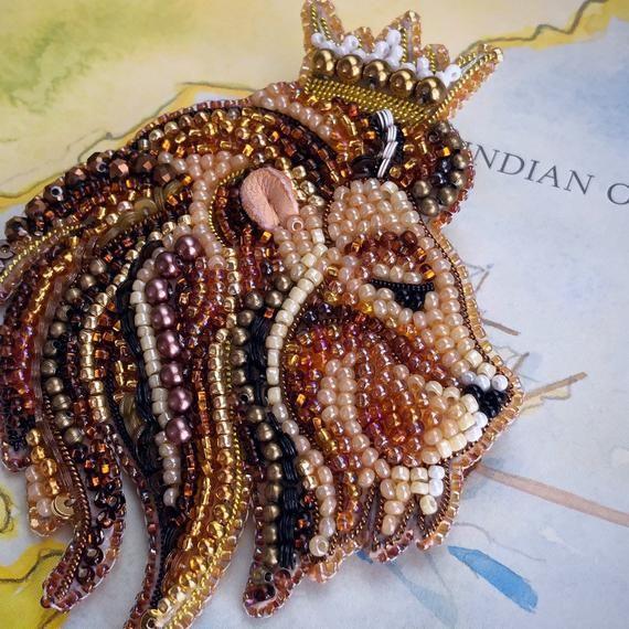 Lion Animal Beaded Brooch zodiac sign  jewelry pin