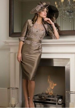 Taffeta and Lace Jewel Sheath Knee-Length Mother Of The Bride Dress with Matching Jacket - Mother of the bride - WHITEAZALEA.com