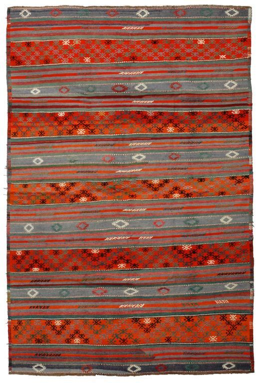 Turkish Jajim Rug From Woven Accents