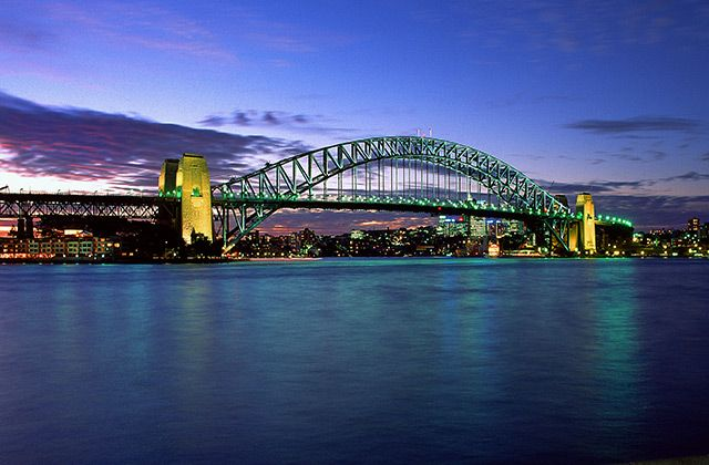 View of the Sydney Harbour Bridge at sunset from Circular Quay.