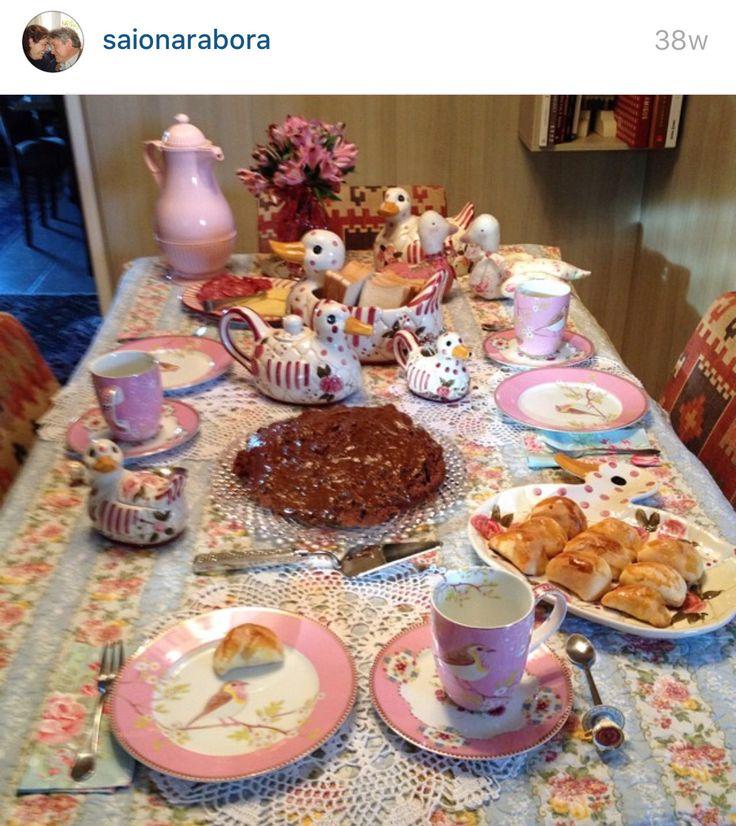 Mesa rosa café decoração patchwork marreca receber