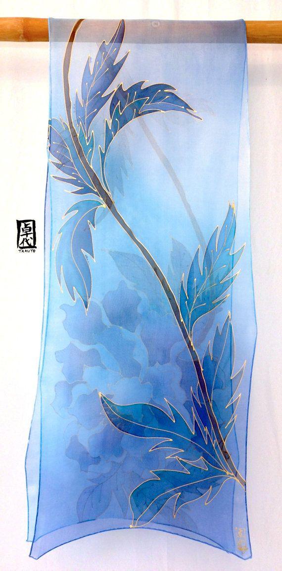Large Silk Scarf Handpainted hand dyed Blue by SilkScarvesTakuyo