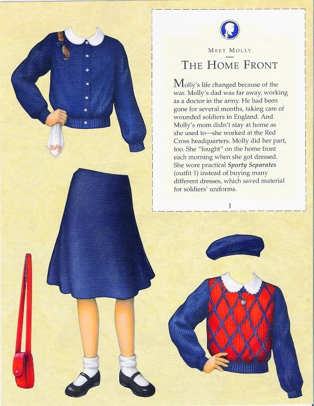 Molly's Paper Dolls an AMERICAN GIRL by Pleasant Company Publications, 1992: Page 1 (of 26). Even pages are the backs of odds and contain description of outfit and possibly book page (1 through 20)
