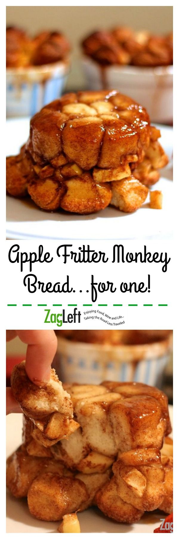 Apple Fritter Monkey Bread made with refrigerator biscuits is a single serving size of sweet pull-apart bread stuffed with layers of apples and brown sugar... zagleft.com