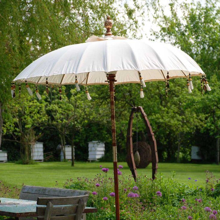Luxury garden parasol | White cream cotton | Hen and Hammock