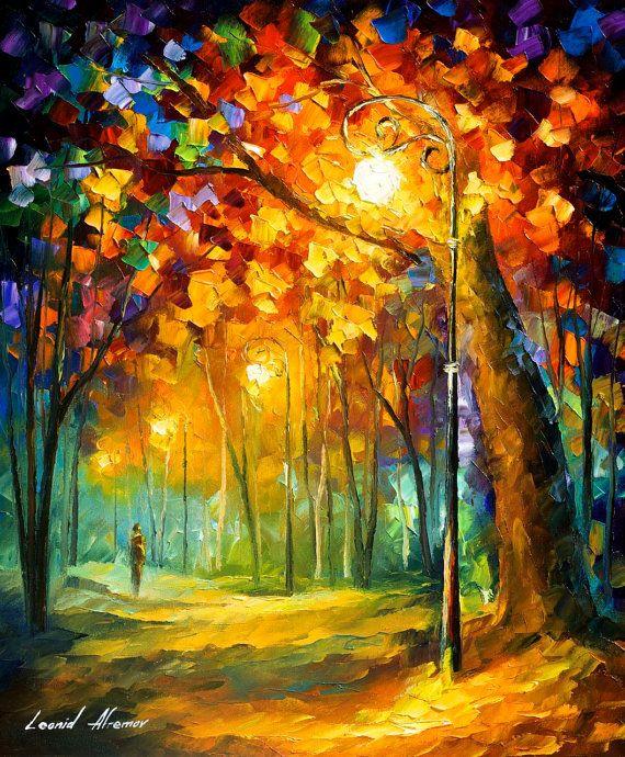 Landscape painting Single Night Landscape by AfremovArtStudio