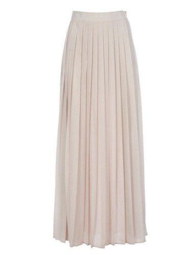 Falda larga tableada en color blanco roto, de BDBA (119 €)