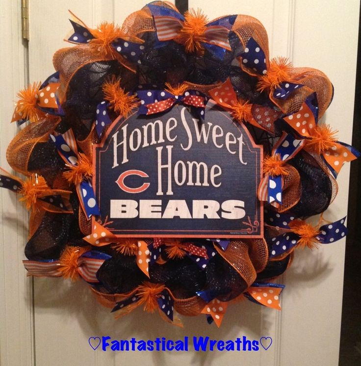 Chicago Bears Wreath - Like Fantastical Wreaths on Facebook.  https://www.facebook.com/FantasticalWreaths  Navy blue, orange mesh and wreath form for this wreath were purchased at http://www.trendytree.com #trendytree #chicagobears #wreath #tailgating