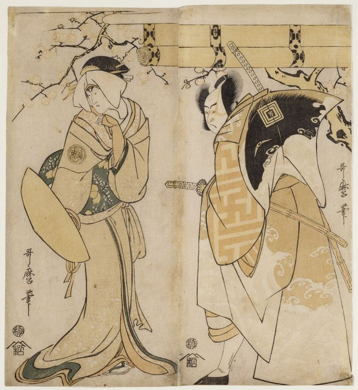 Kitagawa Utamaro, 'The actors Ichikawa Omezo I in the role of and Adachi Tokuro and Nakayama Tomisaburo I in the role of Matsumura Tatsue-mon', 1795-1796  Edo period (1603–1867)