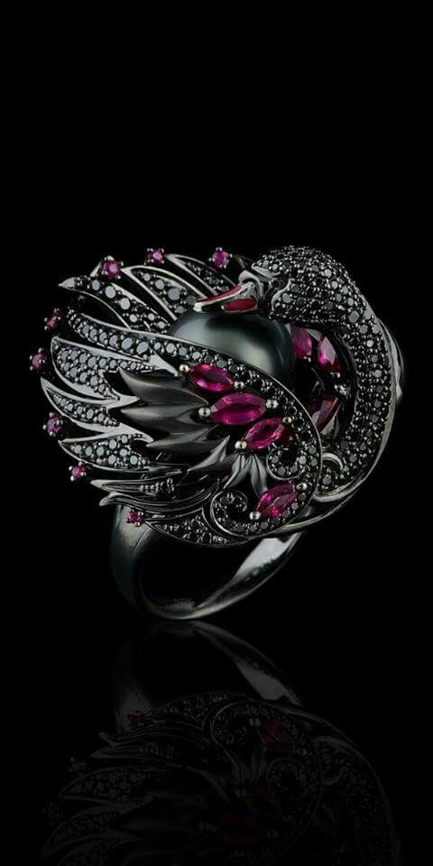 Anillo Master Exclusive Ring Black Swan from Animal Collection♥✿♥
