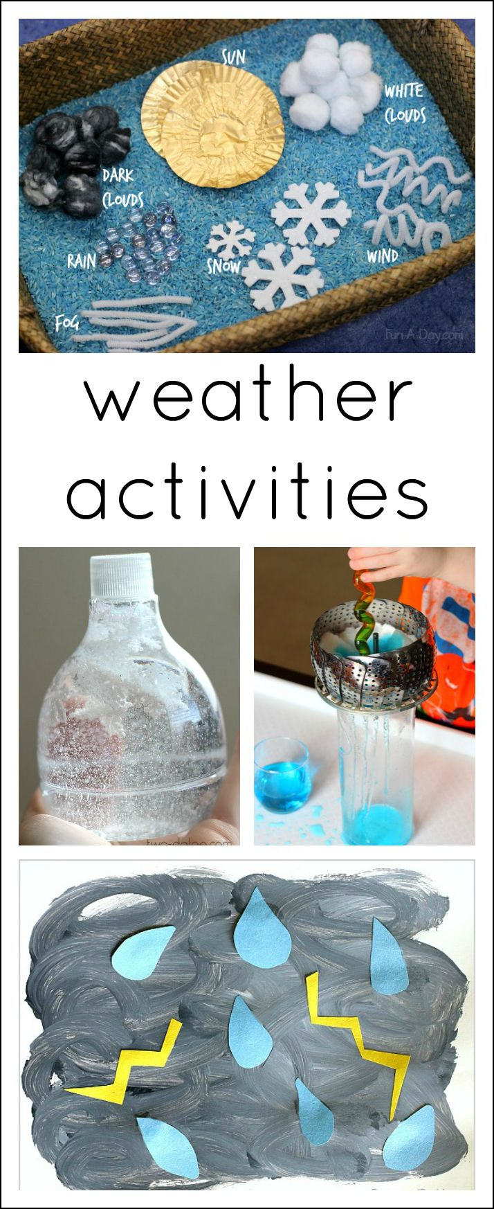 21 great ideas to use when teaching a preschool weather theme. Hands-on activities that are FUN! Would be great for other ages too!