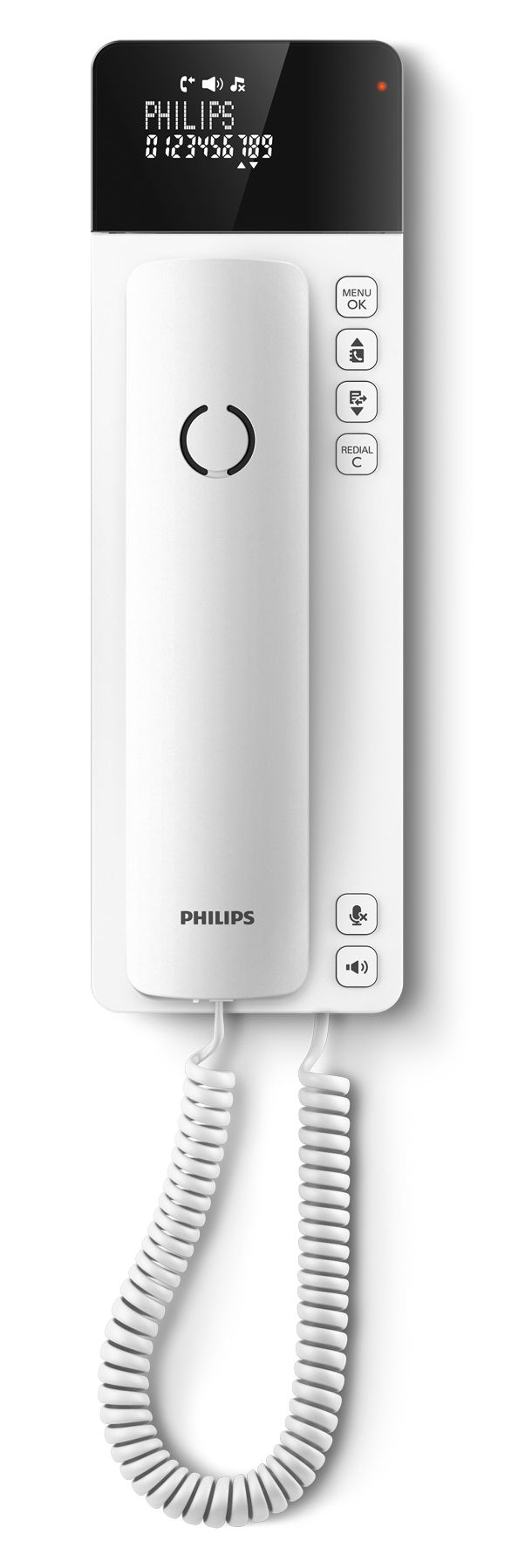 Philips M1 SCALA- This home phone model was conceived as an extension of Philips' design line into the corded phone market. It features a very rational yet innovative configuration and appearance: The vertical proportion delivers a very compact footprint and the device can be placed on a tabletop or mounted on a wall. In either situation the cleverly hinged high-contrast display remains easy to read from any angle. The carefully shaped and weighted handset feels comfortable in the hand and…
