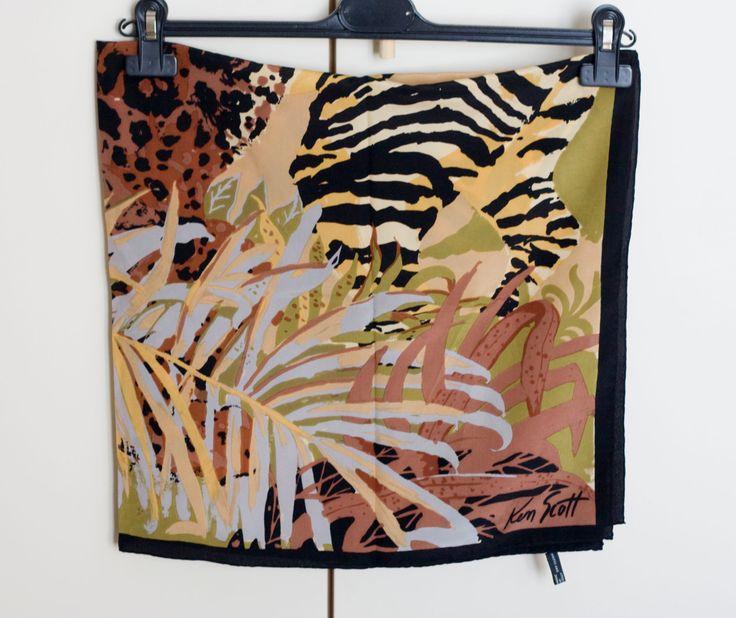 Ken Scott vintage foulard, 100% italian silk square scarf, designer scarf, jungle pattern earth tones by MICETTESVINTAGE on Etsy