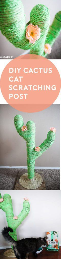 DIY Cactus Cat Scratching Post: Too cute! Grab a glue gun like Arrow's TR550 with precision feed, some PVC pipes and sisal rope for this fun project your cat will love! www.arrowfastener.com #homedecorhacksdiy