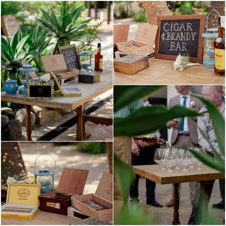 Cigar and brandy bar for wedding in Spain