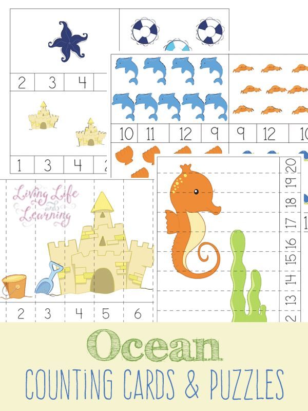 ocean counting cards and puzzles kindergarten. Black Bedroom Furniture Sets. Home Design Ideas