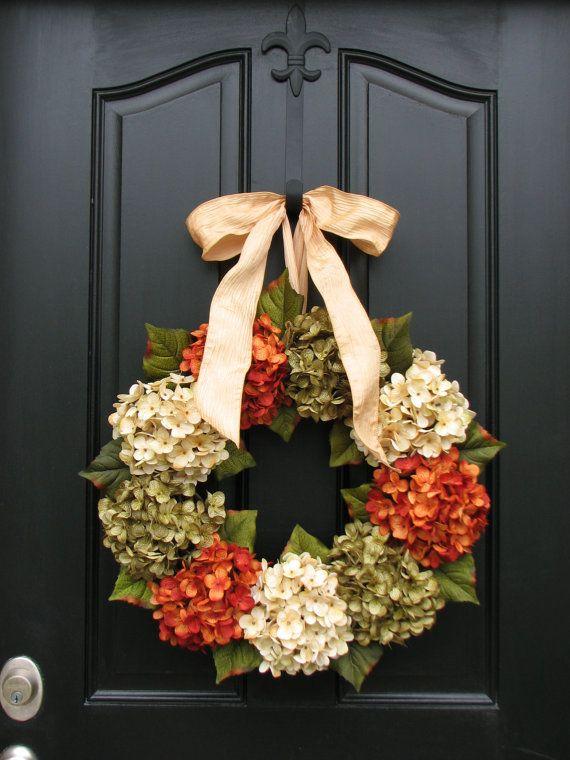 Summer Wreaths for Door, Wreath, Etsy Wreaths, Summer Hydrangeas, Online Wreath, Summer Hydrangeas, Wreaths for Summer via Etsy
