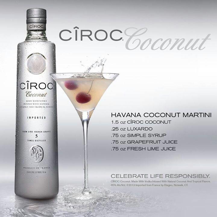 Havana Coconut Martini   Ciroc Coconut