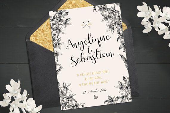 Invitation de mariage Vintage | Cartes d'impression rustiques | Dessin botanique