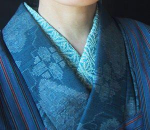 This beautiful combination of haori or kimono-coat, kimono and juban collar is…