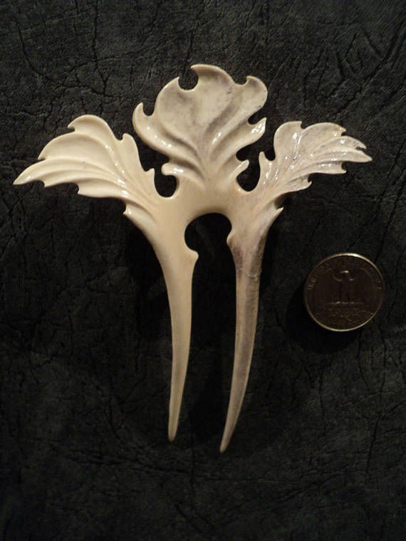 Best carved deer antler hair fork hairpin comb