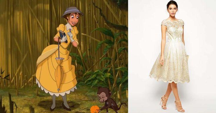 Bridesmaids dresses inspired by Disney characters | Jane, Tarzan | [ https://style.disney.com/news/2016/05/23/bridesmaids-dresses-inspired-by-disney-characters/ ]