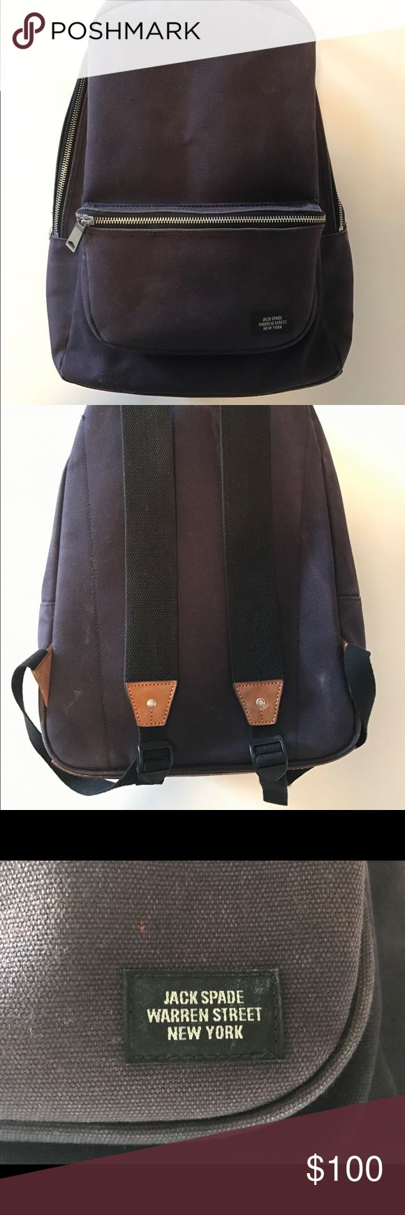 Jack Spade Backpack Navy canvas and leather Jack Spade backpack in collaboration with Beauty & arrows purchased directly from Jack Spade in NYC. Shows sings of wear (see photos) but still has a lot of life ahead! Jack Spade Bags Backpacks