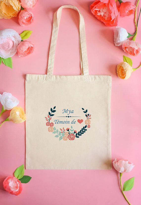 a03136240815 Tote bag témoin - demoiselle d honneur- cadeaux témoin - idée cadeau-  mariage - my haru haru