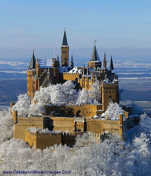 Schloss Hohenzollern (Hohenzollern Castle), 72379 Burg Hohenzollern, Germany... http://www.castlesandmanorhouses.com/photos.htm .... A castle was first constructed here in the early 11th century. Hohenzollern Castle is the ancestral seat of the Hohenzollern family, who became German Emperors. In 1945 it became home to the former Crown Prince Wilhelm of Germany, son of the last Hohenzollern monarch, Kaiser Wilhelm II, who is buried there with his wife, Crown Princess Cecilie.