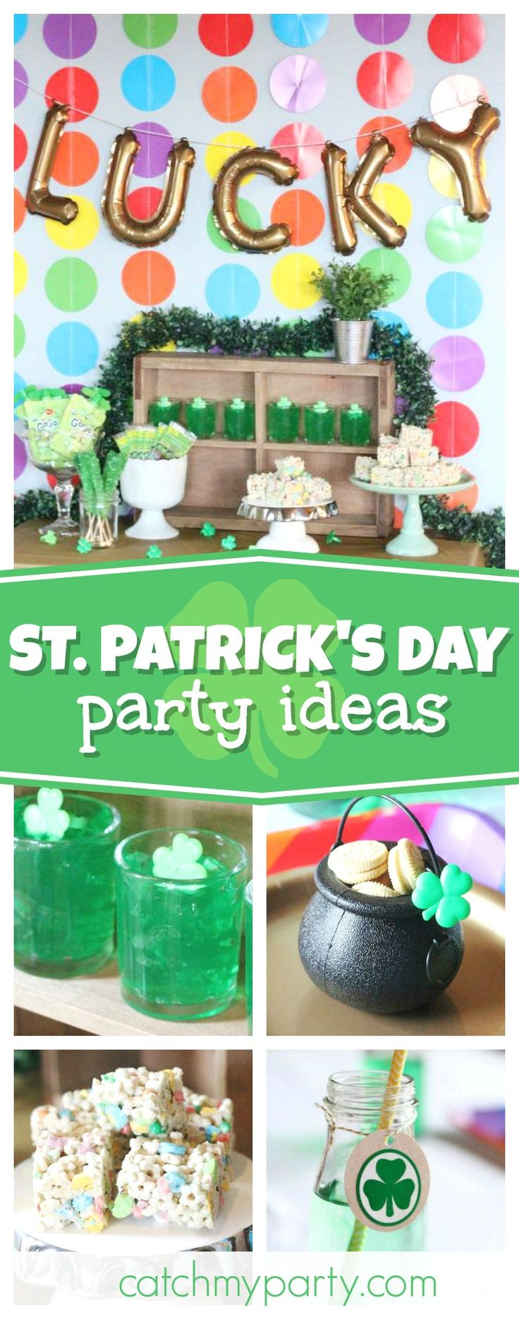 Don't miss this Lucky Day St. Patrick's Day celebration! The dessert table is so cute! See more partyideas and share yours at CatchMyParty.com