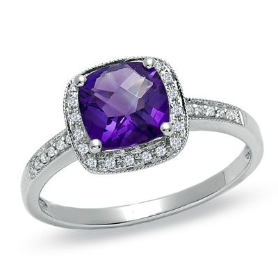 Cushion-Cut Amethyst and Diamond Accent Ring in 14K White Gold - Zales