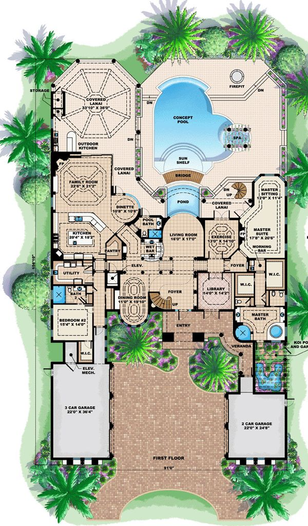 First Floor Plan of Florida   Mediterranean   House Plan 60479