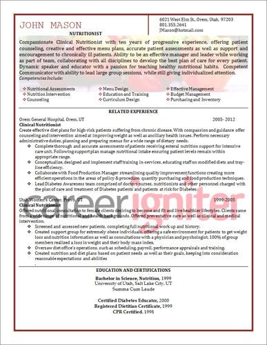 nutritionist resume sample resume pinterest resume