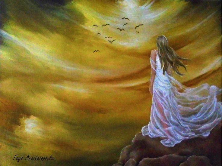 Painting, ,fantasy,scene,sky,clouds,girl,woman,feminine,female,long,hair,dress,rock,figure,psychedelic,picturesque,whimsical,vibrant,vivid,colorful,orange,golden,impressive,cool,beautiful,powerful,atmospheric,celestial,mystical,dreamy,contemporary,imagination,surreal,figurative,modern,step into infinity, fine,oil,wall,art,images,home,office,decor,artwork,modern,items,ideas,for sale,redbubble