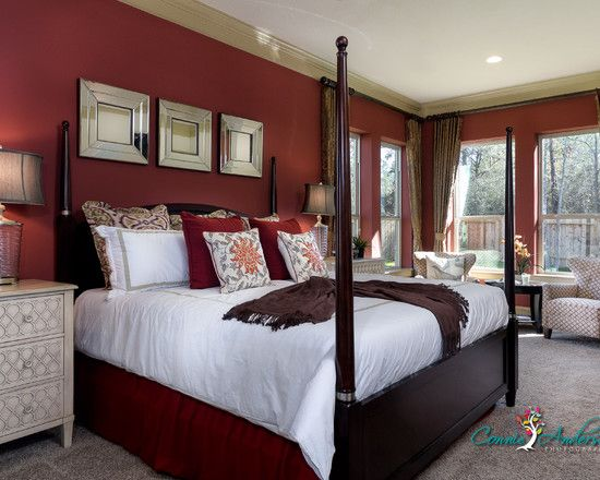 bedroom red walls design, pictures, remodel, decor and ideas