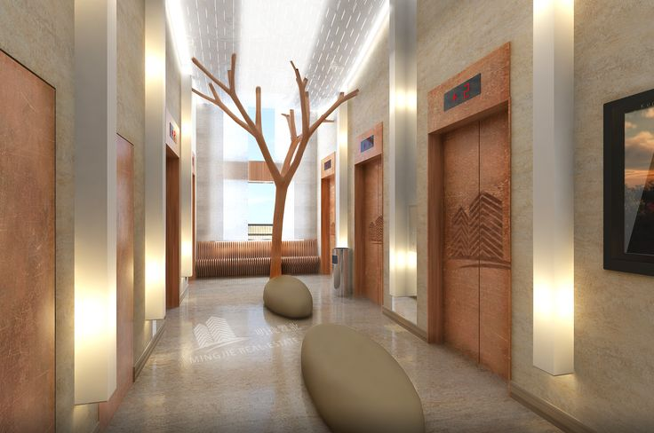 Lifts #Wood #Floating #Lights #puffs Lobby  #tree #walls #Woodchair  Design by Oro Design Studio