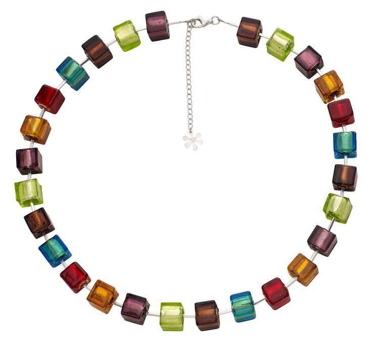 Valentina Murano Glass #Necklace Multi Coloured Cubes #jewellery #murano
