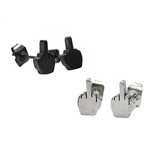 2 Pairs(silver+black) women men's unisex Middle Finger Ear Piercing Stud Earrings Stainless Steel Pinzhi http://www.amazon.co.uk/dp/B00UYX7ZBA/ref=cm_sw_r_pi_dp_-TQ3wb10EYGQ5