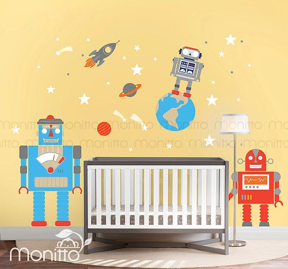 Vintage Robots Wall Decal in Outer Space -Kids Wall Stickers,Nursery Wall Decal,Kids Room Cool Wall Decal,Removable Wall Stickers [MT002]