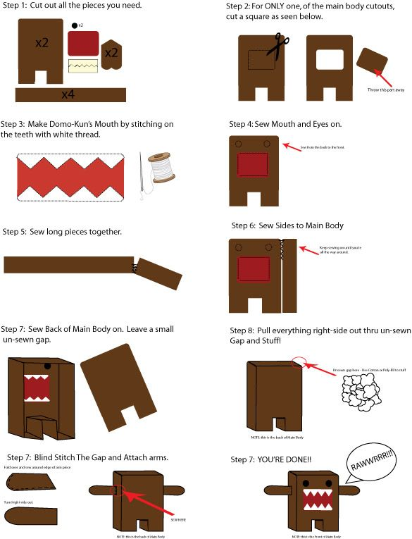 Domo-Kun Plushie Making Guide by Mokulen22.deviantart.com on @deviantART