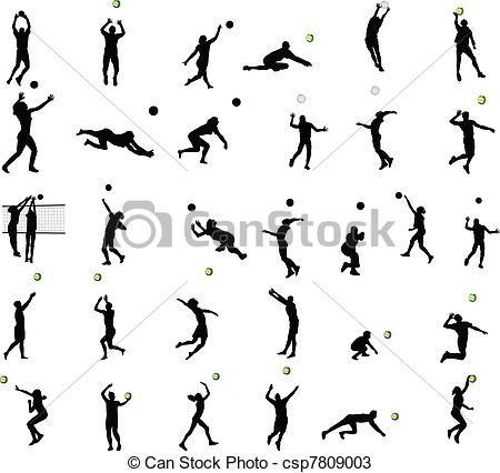 Vector - Silhouettes, volleybal - stock illustratie, royalty-vrije illustraties, stock clip art symbool, stock clipart pictogrammen, logo, line art, EPS beeld, beelden, grafiek, grafieken, tekening, tekeningen, vector afbeelding, artwork, EPS vector kunst