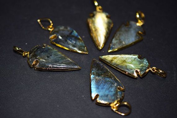 Natural Labradorite BIG Arrowhead Pendant Charm by GauravExports