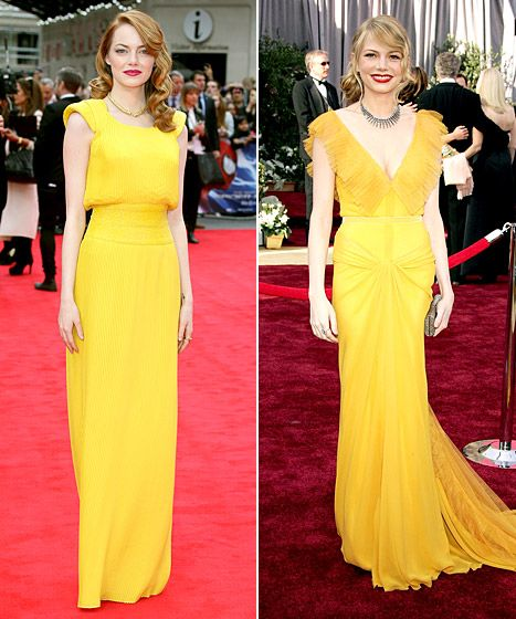 Bringing it back! Emma Stone's Versace dress at a Spider-Man premiere totally reminded us of Michelle Williams' classic canary yellow Vera Wang gown at the 2006 Oscars