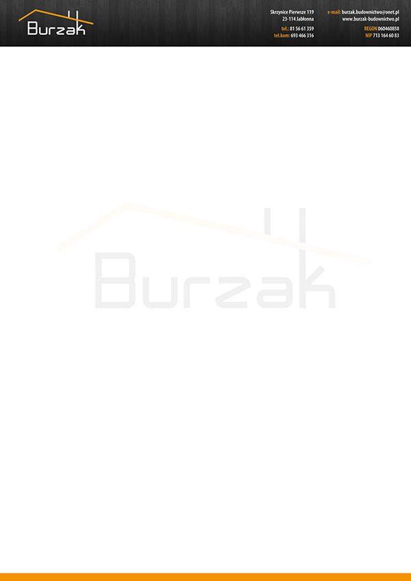Projekt papieru firmowego wykonany na zlecenie firmy Burzak