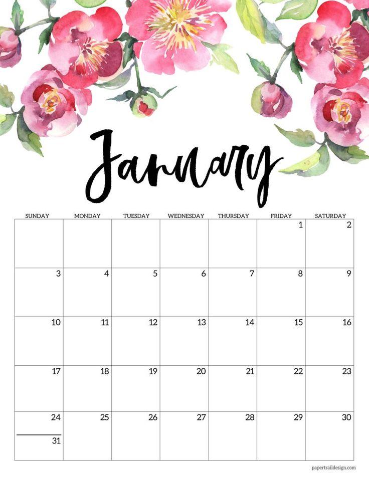 Free Printable 2021 Floral Calendar | Paper Trail Design ...